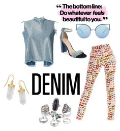 """#alldenim"" by petra-blefluf ❤ liked on Polyvore featuring Marques'Almeida, Versace, GUESS, Matthew Williamson, BillyTheTree and alldenim"