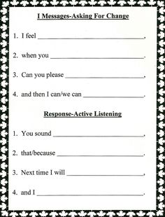 Lorinda-Character Education: I Messages-Asking for Change and Active Listening Response