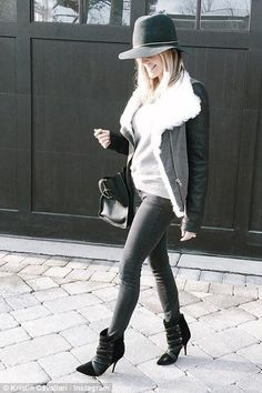 Kristin Cavallari wearing Isabel Marant Tacy Boots, Janessa Leonne Stephen Hat and Helmut Lang Shearling Collar Jacket