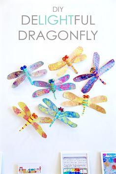 d88bc86e93 Bastelidee für Kinder: Bunte Libellen aus Pappe basteln DIY Delightful  Dragonfly. :Hallo Eltern