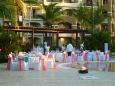 Tables Line The Quiet Pool For Wedding Reception At Now Larimar