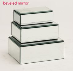 The Prized Set Of 3 Wood Mirror Jewelry Box