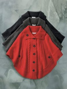 Pendleton Cable Knit capes - These looks comfy!