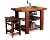 "The Russian River Kitchen Island features wide, reclaimed wine staves for wine storage and a large bottom shelf for larger pots and pans. The overall size is 36""h x 50""w x 30""d. It is available in a variety of finishes (shown here in Pine.) Also shown is the Winemaster's Tasting Stool (25""x24""x16"") with wine barrel stave seat. Made in the USA! Available at Cabin Creations in Phillips, WI. www.cabincreationswi.com"