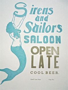 Sirens and Sailers Saloon - vintage- love this poster!