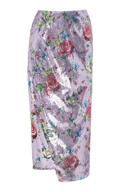 Prabal Gurung Sequined Floral-print Pencil Skirt In Purple Cashmere Cape, Cashmere Sweaters, Printed Pencil Skirt, Pencil Skirts, Silk Midi Dress, Prabal Gurung, Leather Pants, Floral Prints, Women Wear