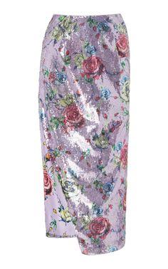 Prabal Gurung Sequined Floral-print Pencil Skirt In Purple Lambskin Leather, Leather Pants, Cashmere Cape, Printed Pencil Skirt, Pencil Skirts, Silk Midi Dress, Prabal Gurung, Cool Designs, Floral Prints