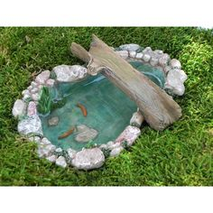 Fairy Garden Koi Pond Miniature With Artificial Water Bridge Sitting... ($15) ❤ liked on Polyvore featuring home, outdoors, outdoor decor, dark olive, home & living, outdoor & gardening, outdoor patio decor, garden gnomes, outdoor garden decor and garden decor
