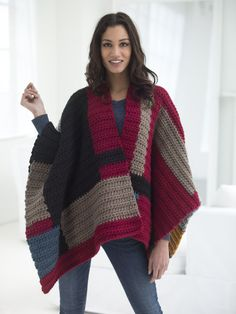 A cozy poncho is perfect for fall! Crochet the Petrona Poncho with our featured yarn this month! Free pattern calls for 13 balls of Wool-Ease Thick & Quick and a size N-13 (9 mm) crochet hook.