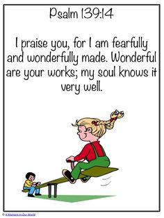{FREE} Printable Monday Memory Verse: Psalm 139:14 in both KJV and ESV