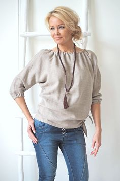 JENNY Linen blouse, NATURAL