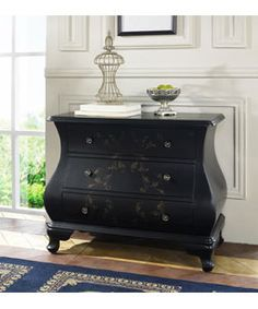 @Overstock.com - Hand-painted Satin Black Accent Chest - Storing out of season or everyday clothing is easy with this elegant hand-painted chest. The curved lines of the piece recreate the style of an antique, but modern ball-bearing side glides ensure that the drawers pull out smoothly every time.  http://www.overstock.com/Home-Garden/Hand-painted-Satin-Black-Accent-Chest/2554199/product.html?CID=214117 $374.99