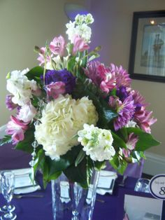 Close up of tall vase centerpiece