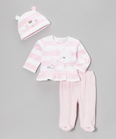Take a look at this Zip Zap Pink Winter Pals Footie Pants Set on zulily today!