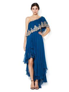 Marchesa Couture One Shoulder Embellished Silk Flutter Gown
