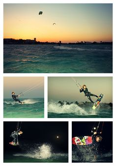 Sunset into fullmoon kiteboarding session in El Gouna, Egypt