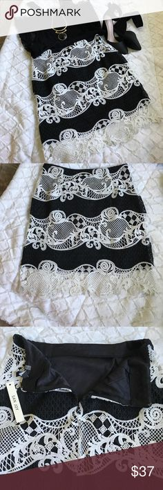 """BEAUTIFUL NEW BLK AND WHITE LACE PENCIL SKIRT BEAUTIFUL BLACK AND WHITE LACE ACCENT PENCIL SKIRT..NEW WITH TAGS...BACK HIDDEN ZIPPER..100% POLYESTER LINED...AND 100% COTTON LACE...FRONT AND BACK...LARGE-WAIST 16""""-LENGTH 20""""..MEDIUM IS WAIST 15"""" ..LENGTH 20"""" LUV THIS SKIRT❤️.. San Joy Skirts Pencil"""