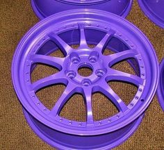 Brand New, Virgin High Gloss Mirror Purple Powder Coating Paint. This is an extremely durable, super smooth gloss purple wave powder. Rims For Cars, Rims And Tires, Honda Accord, Rc Cars Diy, Rim And Tire Packages, Car Mods, Custom Wheels, Sweet Cars, Car Painting