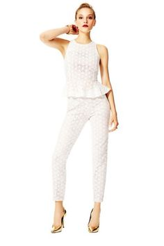 Lace peplum top and matching pants from Fashion Star winner Hunter Bell. Lace Peplum, Star Fashion, Fashion Brands, Jumpsuit, Season 2, Popular, Stars, My Style, Stuff To Buy
