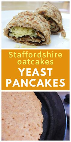 Staffordshire Oatcakes are a yeasted pancake that… Staffordshire Oatcakes Recipe. Staffordshire Oatcakes are a yeasted pancake that tastes good with honey, but even better with a savoury filling. Vegetarian Breakfast, Vegan Breakfast Recipes, Vegetarian Recipes, Pancake Recipes, Staffordshire Oatcakes Recipe, Perfect Pancake Recipe, Savory Pancakes, Tinned Tomatoes, Low Calorie Recipes