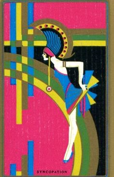 VINTAGE Swap Playing Card US NN Syncopation RARE Stunning Art Deco Girl Ladies