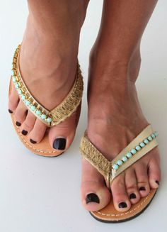 d740f52697c57 Items similar to Leather Flip flops - Leather sandals - Gold sandals with  mint green Swarovski rhinestone - Greek leather sandals on Etsy