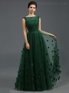 Just Shop for Solid Color Stereo Flower Sleeveless Tulle Elegant Dresses from Jollyhers Online now: All Kinds of Designer Special Occasion Dresses wit. A Line Evening Dress, Green Evening Dress, A Line Prom Dresses, Bridesmaid Dresses, Summer Dresses, Wedding Dresses, Homecoming Dresses, Green Gown, Long Dresses