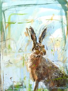 Brown Hare 4 by James Bartholomew – Janet Bell Gallery Animal Painter, Animal Paintings, Watercolor Animals, Watercolor Art, Abstract Animals, Hare Illustration, Rabbit Art, Bunny Art, Rainbow Art