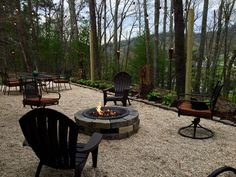 Our Patio ~ Pea gravel, Gas fire pit, cafe lights