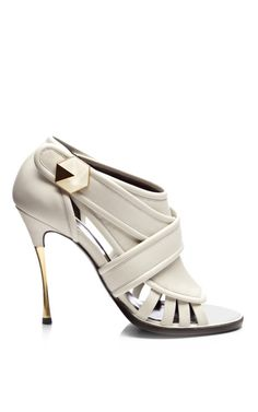 White Leather Open-Toe Cage Sandals by Nicholas Kirkwood