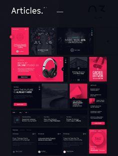 Daphne is huge Dark UI Kit. Web Design Trends, Ui Design, Layout Design, Modern Web Design, Flyer Design, Creative Design, Graphic Design, Blog Website Design, Portfolio Website Design