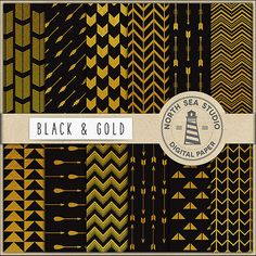 Gold Tribal Digital Paper Pack Gold Paper by NorthSeaStudio