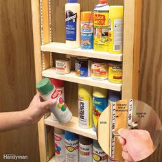Store smaller containers—spray paint, putty cans, glue bottles—right in the wall! Screw shelf brackets (6-ft. lengths are sold at home centers) to the studs, then install shelves, cut from standard 1x4 boards, on adjustable clips. The boards fit perfectly; there's no need to saw them to width.