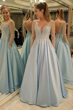Light Blue A Line Brush Train Deep V Neck Long Sleeve Appliques Prom Dress,Party Dress P429 #partydress