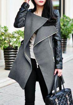 Coat black and grey.  Black pant and white shirt