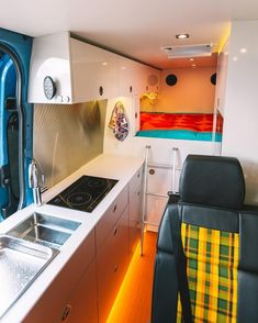Beautiful design and layout in this sprinter camper van conversion. Great inspiration and ideas for building your own diy camper for #vanlife. I like that there is a ton of storage and the blog gives good tips, tricks and advice for building your own camper van!