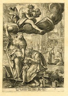 """Saturn; sitting on a cloud he holds a youth with a scythe between his legs; below a female figure labelled """"Conscientia"""" holds a book and points upwards standing besides an elderly man on a chair; on the ground is a flask, spectacles atop an hour-glass and a fire in a cart; beyond is a church and a monk takes the hand of a crippled figure with no feet; plate 7 (ages of man: old age); on full sheet; after Maarten de Vos. 1581 Engraving"""