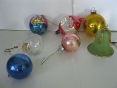Lot of 7 Vintage Glass Ornaments Christmas Holiday Indent Glitter Flocked Bell