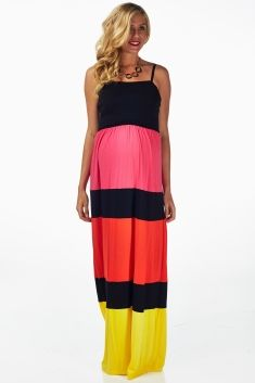 Pink Red Yellow Colorblock Maternity Maxi Dress