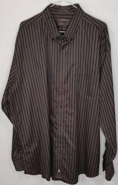 Nordstrom SMARTCARE Mens Brown Striped Long Sleeve Button Down Dress Shirt XXL #Nordstrom #ButtonFront