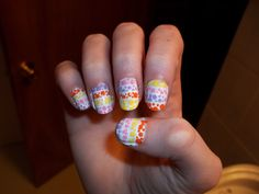 easter nails stripe dots