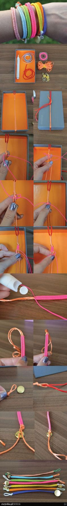 DIY macrame bracelet- button closure