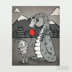 """Robot Love, Small Kindness, """"Teach a Robot to Love"""" Series - Tami Boyce Happy Balloons, Daily Activities, Close To My Heart, Robot, Designers, Doodles, My Arts, Nursery, Stamp"""