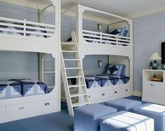 kid's room inspiration with 2 nos double deck bed and 4 poufs :)