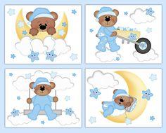 TEDDY BEAR NURSERY Decals Cloud Stars Moon Wall Art Mural