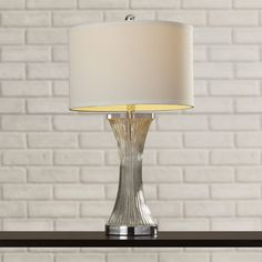 """Found it at Wayfair - Wally Glass 25"""" H Table Lamp with Drum Shade"""