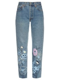 Wild Flower embroidered cropped jeans | Bliss and Mischief | MATCHESFASHION.COM US