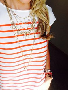 I am crazy for stripes and this layered look another Stella & Dot Stylist came up with (Sorry I can't remember who it was to give her credit ;) ). She layered the big sparkle piece from the gold Sutton necklace, with the Pave Chevron Necklace and the Aria Necklace. What an amazing combination over a casual striped tshirt! Shop the look in my eboutique: www.stelladot.com/ssmithjewels.