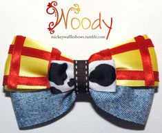 """A medium inches) sized hair bow inspired by Woody from Disney-Pixar's Toy Story. Choose your clip type using the drop down menu above the """"add to cart"""" butt… Diy Bow, Diy Ribbon, Fabric Ribbon, Ribbon Bows, Ribbons, Disney Diy, Disney Crafts, Disney Stuff, Aurora Hair"""