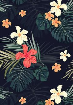 Summer hawaiian design with tropical plants and hibiscus flowers • Also buy this artwork on wall prints, apparel, stickers, and more.